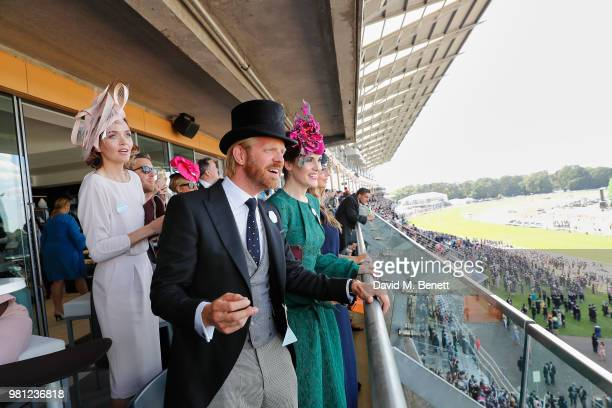 Alistair Guy and Michelle Dockery attend the Longines suite in the Royal Enclosure during Royal Ascot on June 22 2018 in Ascot England