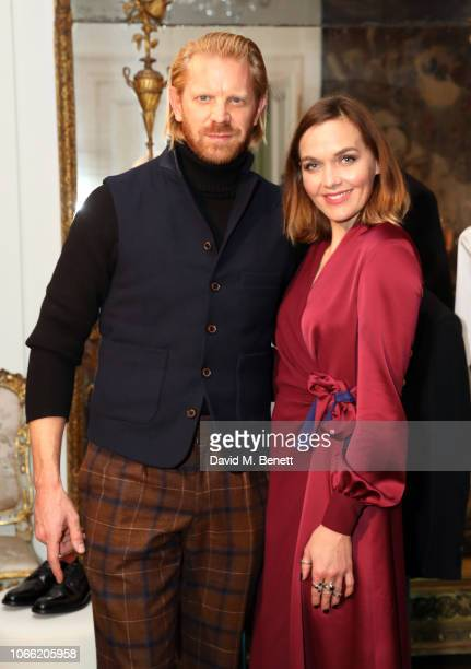 Alistair Guy and Victoria Pendleton attend Paul Smith Womens Tuxedo Launch at the Italian Embassy on November 28 2018 in London England