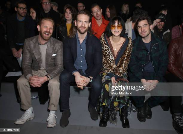 Alistair Guy Craig McGinlay Betty Bachz and Robert Konjic attend the Oliver Spencer Show during London Fashion Week Men's January 2018 at on January...