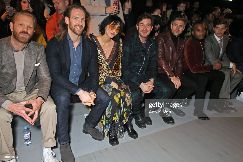 Alistair Guy, Craig McGinlay, Betty Bachz, Robert Konjic, Darren Kennedy, Eric Underwood and Toby Huntington-Whiteley attend the Oliver Spencer LFWM AW18 Catwalk Show at the BFC Show Space on January 6, 2018 in London, England.