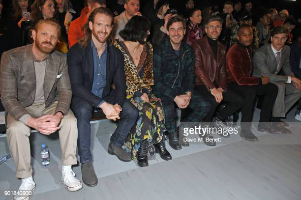 Alistair Guy Craig McGinlay Betty Bachz Robert Konjic Darren Kennedy Eric Underwood and Toby HuntingtonWhiteley attend the Oliver Spencer LFWM AW18...