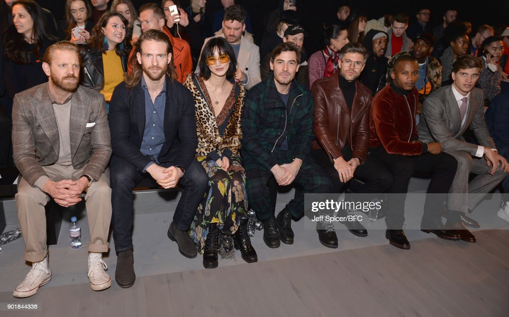 Alistair Guy, Craig McGinlay, Betty Bachz, Robert Konjic, Darren Kennedy, Eric Underwood and Toby Huntington-Whiteley attend the Oliver Spencer show during London Fashion Week Men's January 2018 at BFC Show Space on January 6, 2018 in London, England.