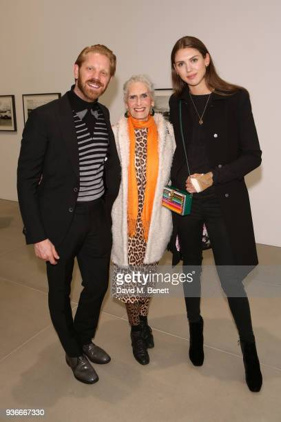 Alistair Guy, Daphne Selfe and Sabrina Percy attends the private view of Wim Wenders ÔEarly Works: 1964-1984Õ at Blain|Southern on March 22, 2018 in...