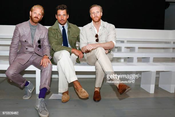 Alistair Guy David Gandy and Joe Ottoway attend the Edward Crutchley show during London Fashion Week Men's June 2018 at BFC Show Space on June 9 2018...