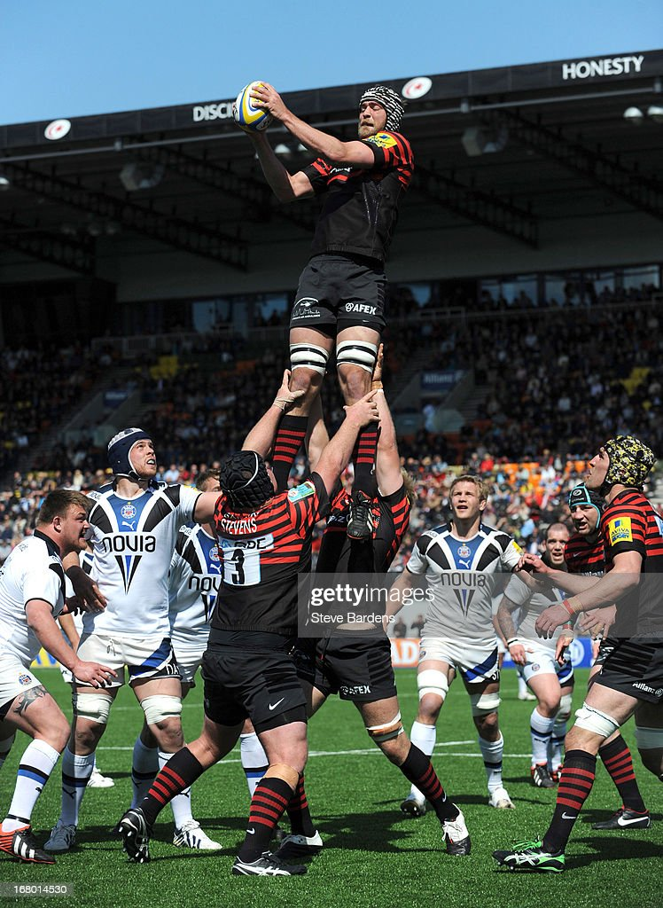 Alistair Hargreaves of Saracens wins a lineout during the Aviva Premiership match between Saracens and Bath at Allianz Park on May 04, 2013 in Barnet, England.