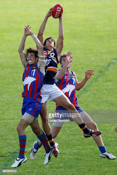 Alistair Kefford of the Cannons takes a mark during the round three TAC Cup match between Oakleigh Chargers and Calder Cannons on April 11 2010 in...