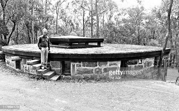 Alistair Knox and his office built into the hillside at his Eltham home 5 Nov 1980
