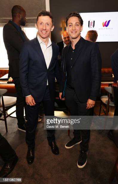 Alistair Mackintosh and Charles Barnett attend a brunch to celebrate the partnership between World Mobile and Fulham FC at Craven Cottage on July 28,...