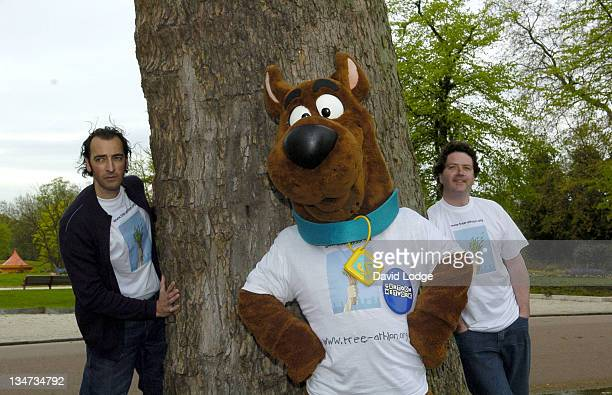 Alistair McGowan Scooby Doo and Diarmuid Gavin during World's First TreeAthlon Photocall at Battersea Park in London Great Britain