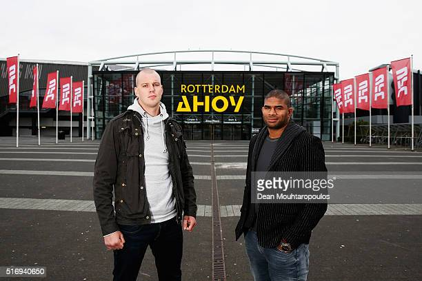 Alistair Overeem and Stefan Struve both of the Netherlands pose during the UFC photo call at Ahoy on March 22 2016 in Rotterdam Netherlands UFC Fight...