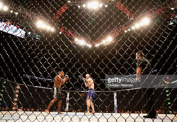 Alistair Overeem and Stefan Struve square off in their heavyweight bout during the UFC Fight Night event at the at US Airways Center on December 13...