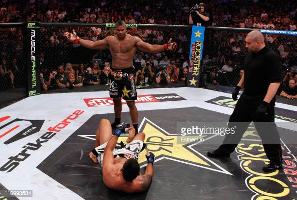Alistair Overeem calls for Fabricio Werdum to stand back up and fight him during a Heavyweight bout at the Strikeforce event at American Airlines...