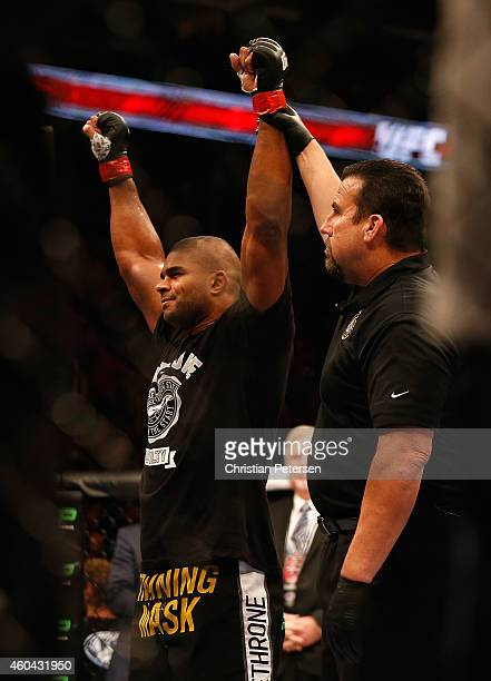 Alistair Overeem celebrates after his ko victory over Stefan Struve in their heavyweight bout during the UFC Fight Night event at the at US Airways...