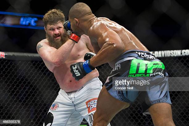 Alistair Overeem connects with a punch to Roy Nelson during UFC 185 at the American Airlines Center on March 14 2015 in Dallas Texas