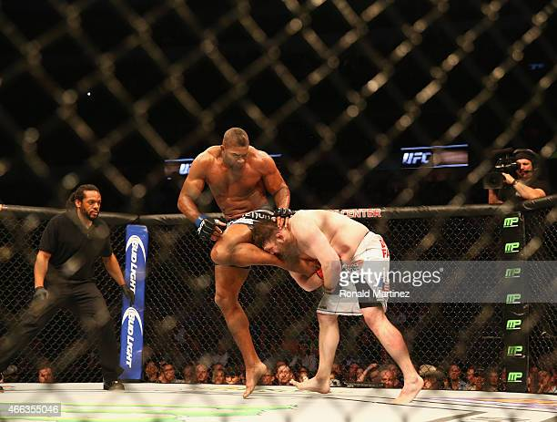 Alistair Overeem fights with Roy Nelson in the Heavyweight bout during the UFC 185 event at American Airlines Center on March 14 2015 in Dallas Texas