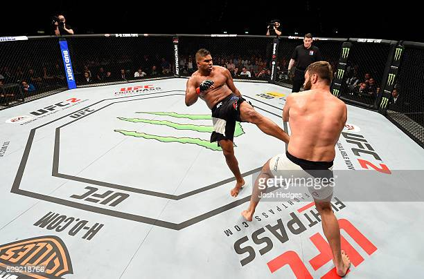 Alistair Overeem kicks Andrei Arlovski in their heavyweight bout during the UFC Fight Night event at Ahoy Rotterdam on May 8 2016 in Rotterdam...
