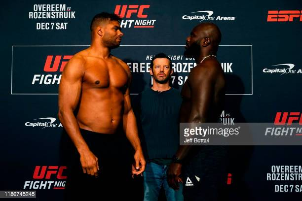 Alistair Overeem of Netherlands and Jairzinho Rozenstruik of Suriname face off during the UFC Fight Night weighin on December 6 2019 in Washington DC