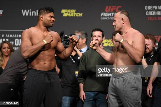 Alistair Overeem of The Netherlands and Aleksei Oleinik of Russia face off during the UFC Fight Night weighin at Yubileyny Sports Palace on April 19...