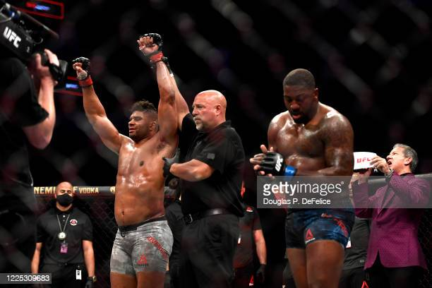 Alistair Overeem of the Netherlands celebrates after defeating Walt Harris of the United States in their Heavyweight bout during UFC Fight Night at...