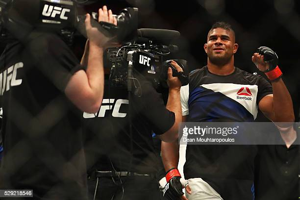 Alistair Overeem of the Netherlands celebrates victory over Andrei Arlovski of Belarus after their Heavyweight bout during the UFC Fight Night 87 at...