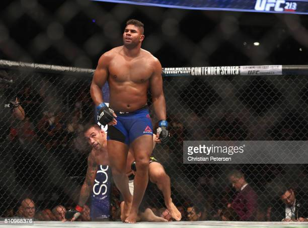Alistair Overeem of the Netherlands heads to his corner after facing Fabricio Werdum of Brazil in their heavyweight bout during the UFC 213 event at...