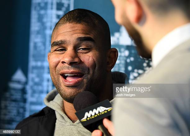 Alistair Overeem of the Netherlands interacts with media during the UFC 185 Ultimate Media Day at the American Airlines Center on March 12 2015 in...