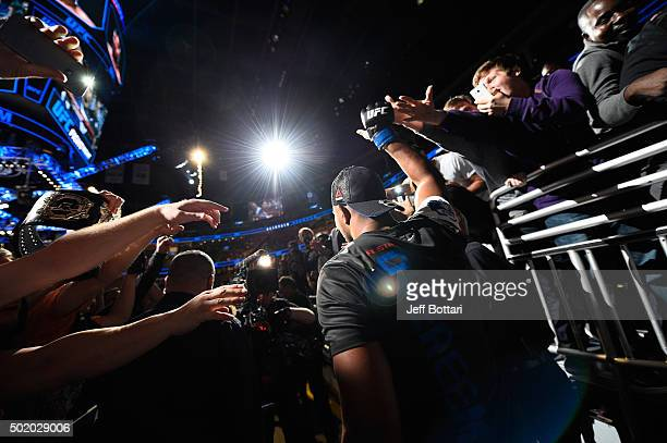 Alistair Overeem prepares to enter the Octagon before facing Junior dos Santos in their heavyweight bout during the UFC Fight Night event at the...