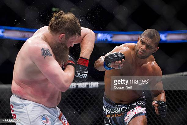 Alistair Overeem punches Roy Nelson during UFC 185 at the American Airlines Center on March 14 2015 in Dallas Texas