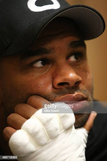 Alistair Overeem relaxes in his locker room before his heavyweight fight against Frank Mir at the UFC 169 event inside the Prudential Center on...