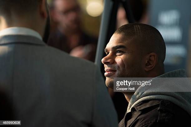 Alistair Overeem speaks with the media during the UFC 185 Ultimate Media Day at the American Airlines Center on March 12 2015 in Dallas Texas