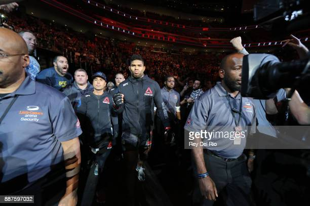 Alistair Overeem walks out into the arena to face Francis Ngannou during the UFC 218 event at Little Caesars Arena on December 2 2017 in Detroit...