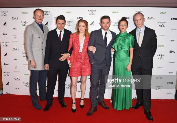 """Alistair Petrie, Dougray Scott, Emily Beecham, Mark Stanley, Anna Friel and David Tait attend the World Premiere of """"Sulphur And White"""" at The Curzon..."""