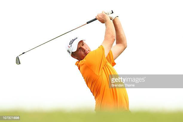 Alistair Presnell of Australia plays a shot on the 17th hole during day three of the Australian Open at The Lakes Golf Club on December 4 2010 in...