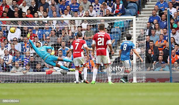 Alister Crawford of Hamilton scores the opening goal during the Ladbrokes Scottish Premiership match between Rangers and Hamilton Academical at Ibrox...