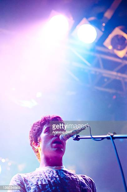 Alister Wright of Cloud Control performs on stage at Electric Ballroom on February 17 2012 in London United Kingdom