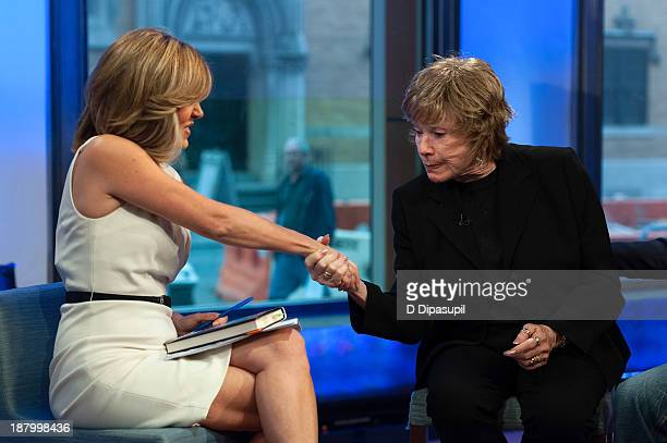 Alisyn Camerota interviews Shirley MacLaine during her visit to FOX News Channel's America's News Headquarters at FOX Studios on November 14 2013 in...