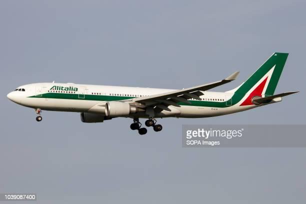 Alitalia Airbus 330200 seen near to land at Rome Fiumicino airport