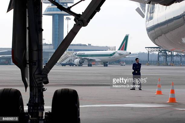 Alitalia aircraft at Milan Malpensa Airport on February 04 2009 in Milan Italy