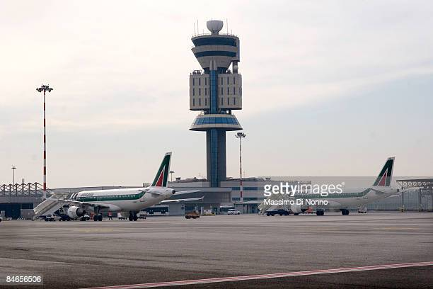 Alitalia aircraft parking at Milan Malpensa Airport on February 04 2009 in Milan Italy