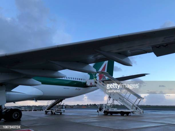 Alitalia is ready for departure after boarding procedures from Incheon