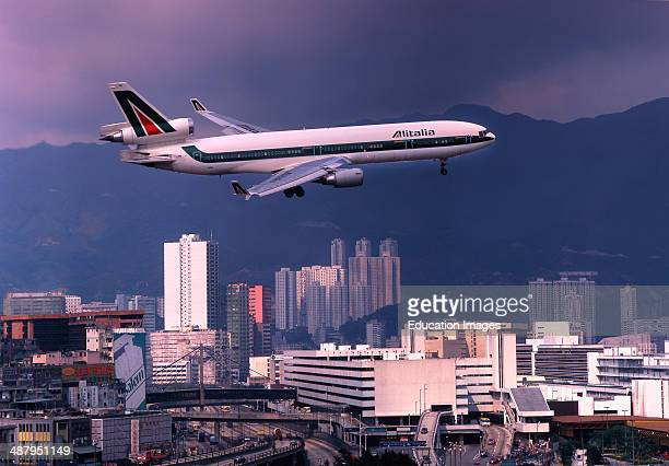 Alitalia Md11 On Approach To Kai Tak Airport Hong Kong Asia