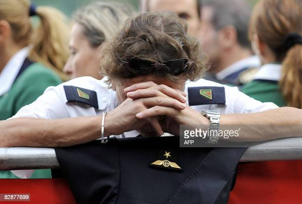 Alitalia's employees demonstrate during an assembly at Fiumicino airport near Rome on September 18 2008 An Italian consortium that proposed to take...