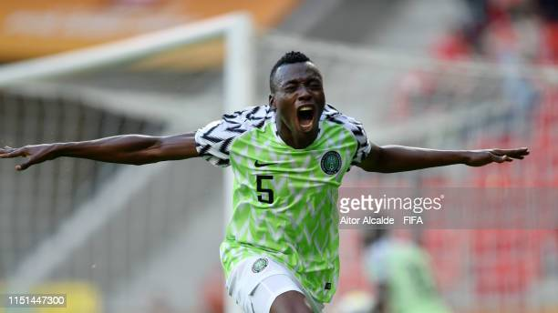 Aliu Salawudeen of Nigeria celebrates after scoring his team's fourth goal during the 2019 FIFA U-20 World Cup group D match between Qatar and...