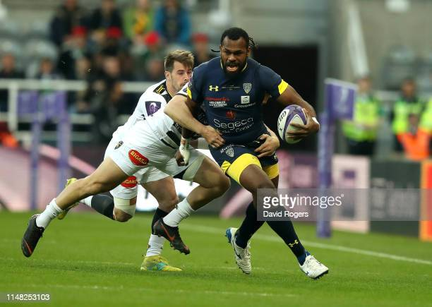 Alivereti Raka of ASM Clermont is tackled during the Challenge Cup Final match between La Rochelle and ASM Clermont at St James Park on May 10 2019...
