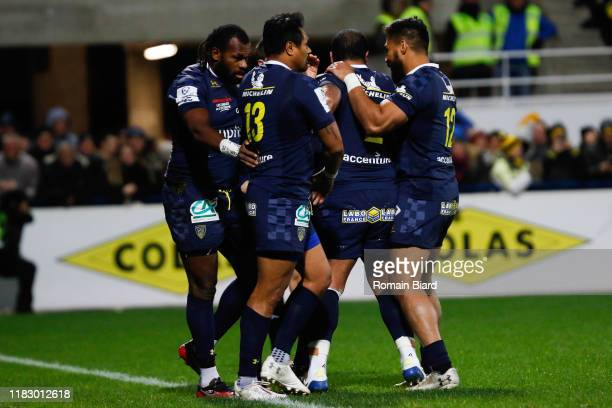 Alivereti RAKA of Clermont and Isaia TOEAVA of Clermont and George MOALA of Clermont during the European Rugby Champions Cup Pool 3 match between ASM...