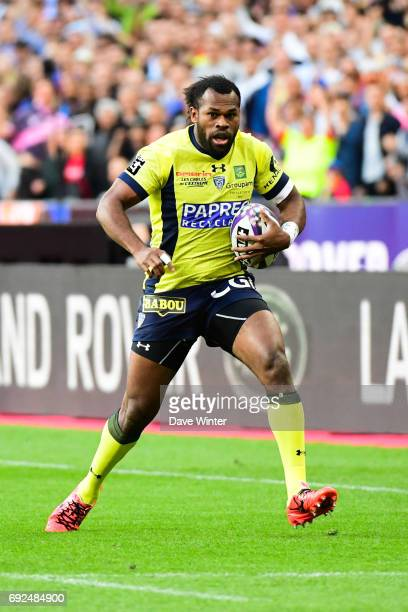 Alivereti Raka of Clermont runs in a try during the Top 14 Final between RC Toulon and Clermont Auvergne at Stade de France on June 4 2017 in Paris...