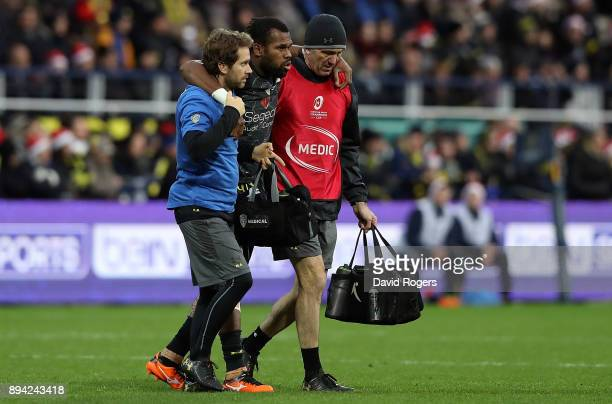 Alivereti Raka of Clermont walks off the pitch after picking up an injury during the European Rugby Champions Cup match between ASM Clermont Auvergne...