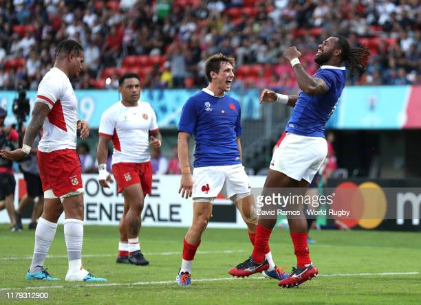 Alivereti Raka of France celebrates after scoreing his team's second try during the Rugby World Cup 2019 Group C game between France and Tonga at...
