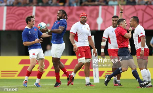 Alivereti Raka of France celebrates scoring his team's second try with Baptiste Serin of France during the Rugby World Cup 2019 Group C game between...