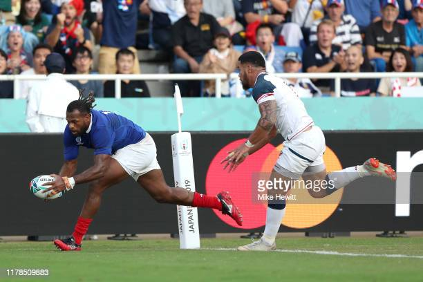 Alivereti Raka of France grounds the ball to score his side's second try during the Rugby World Cup 2019 Group C game between France and USA at...